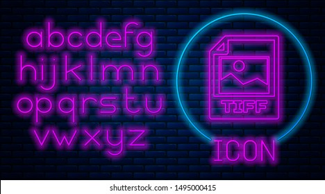Glowing neon TIFF file document. Download tiff button icon isolated on brick wall background. TIFF file symbol. Neon light alphabet. Vector Illustration