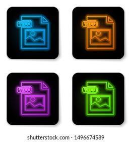 Glowing neon TIFF file document. Download tiff button icon isolated on white background. TIFF file symbol. Black square button. Vector Illustration