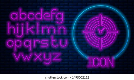 Glowing neon Time Management icon isolated on brick wall background. Clock and gear sign. Productivity symbol. Neon light alphabet. Vector Illustration