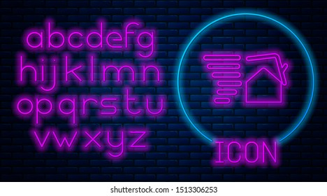 Glowing neon Tornado swirl damages house roof icon isolated on brick wall background. Cyclone, whirlwind, storm funnel, hurricane wind icon. Neon light alphabet. Vector Illustration