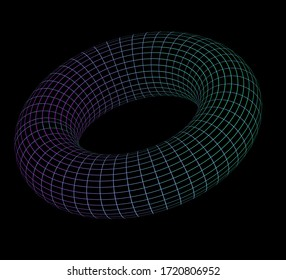 Glowing neon torus made of wireframe. Concept of  homeomorphism and homotopies in Topology.