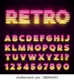 Glowing neon tube font. Retro text effect. Latin letters from A to Z and numbers from 0 to 9. Pink to yellow gradient light.