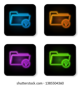 Glowing neon Unknown directory icon isolated on white background. Magnifying glass and folder. Black square button. Vector Illustration