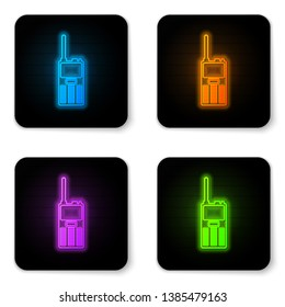 Glowing neon Walkie talkie icon isolated on white background. Portable radio transmitter icon. Radio transceiver sign. Black square button. Vector Illustration