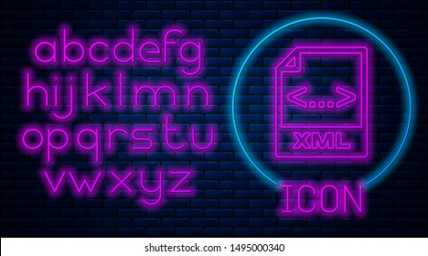 Glowing neon XML file document. Download xml button icon isolated on brick wall background. XML file symbol. Neon light alphabet. Vector Illustration