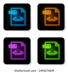 Glowing neon XML file document. Download xml button icon isolated on white background. XML file symbol. Black square button. Vector Illustration