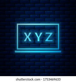Glowing neon XYZ Coordinate system on chalkboard icon isolated on brick wall background. XYZ axis for graph statistics display.  Vector