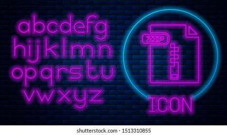 Glowing neon ZIP file document. Download zip button icon isolated on brick wall background. ZIP file symbol. Neon light alphabet. Vector Illustration