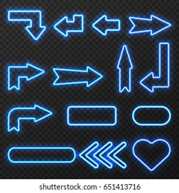 Glowing in night neon light outlined signs arrows and symbols set on black background isolated vector illustration