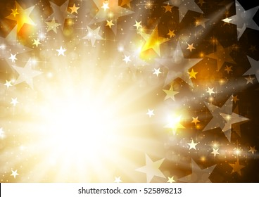 Glowing orange golden background with stars and beams. Vector celebration bright graphic starry design