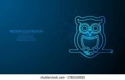 Glowing owl on blue abstract background. llines on blue background.