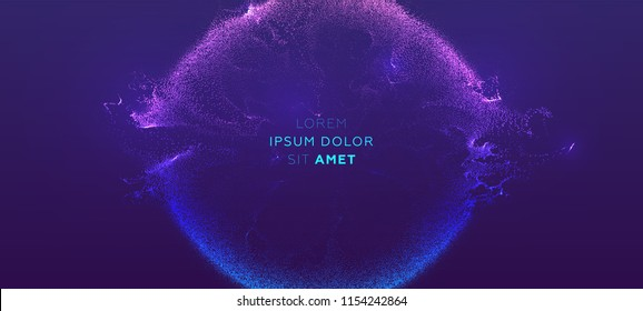 Glowing particles liquid dynamic flow. Trendy fluid cover design. Eps10 vector illustration