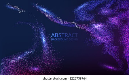 Glowing particles liquid dynamic flow. Trendy cover design. vector illustration