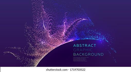 Glowing particles liquid dynamic flow. Trendy fluid cover design. Eps10 vector illustration