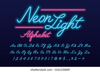 Glowing pink and blue neon light alphabet