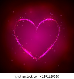 Glowing pink heart on dark background. Vector illustration. Valentines day card.