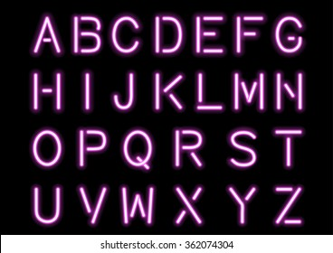 Glowing Pink Neon Alphabet isolated and transparent. Vector eps10.