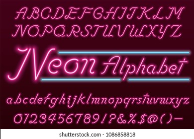 Glowing pink neon light font and alphabet