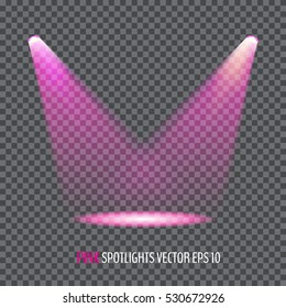 Glowing pink spotlights. Pair of magenta illumination stage lights. Vector illustration for your graphic design.