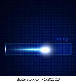 Glowing progress loading bar. Vector illustration