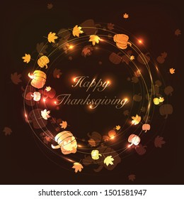 Glowing pumpkins and leaves in a frame on a dark background for Thanksgiving. Vector background