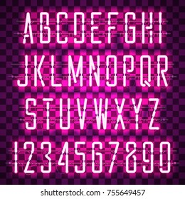 Glowing Purple Neon Casual Script Font with uppercase letters from A to Z and digits from 0 to 9 with wires, tubes, brackets and holders. Shining and glowing neon effect. Vector illustration.