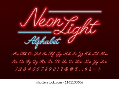 Glowing red and blue neon light alphabet