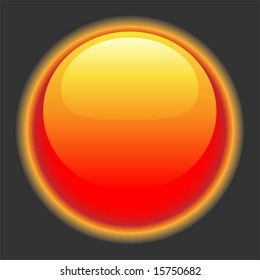 Glowing red hot button for website or interface.  Vector art.
