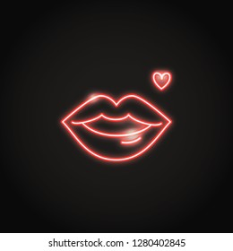 Glowing red lips neon icon in line style