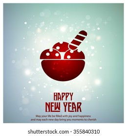 Glowing red typography with Ice Cream Icon on blue background - 2016 Happy New Year Greeting Card Design - Colorful Background