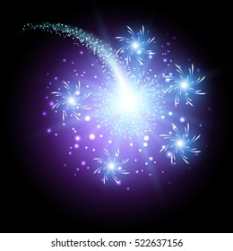 Glowing salute and firework with sparkle stars