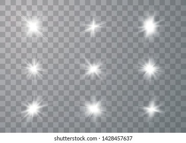 Glowing set lights effect, flare, explosion and stars. Special effect isolated on transparent background. Vector Illustration eps 10.