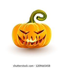Glowing sinister Halloween pumpkin. Jack-o'-lantern for Halloween isolated on white background