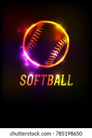 A glowing softball icon and word on a dark background illustration. Vector EPS 10 available.