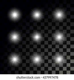 Glowing sparkling stars on transparent dark background. Set of vector glossy stars