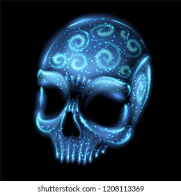 Glowing Spirit Ghost Undead Skull Isolated Halloween Object Vector Art Design Illustration