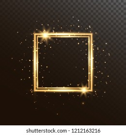 Glowing square frame with glitter sparkle and stars. Christmas shining background. Gold luxury frame isolated on transparent background. Vector illustration.