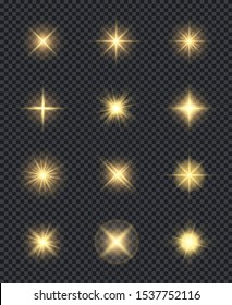 Glowing stars. Realistic lighting shining effects sparks celebration vector symbols