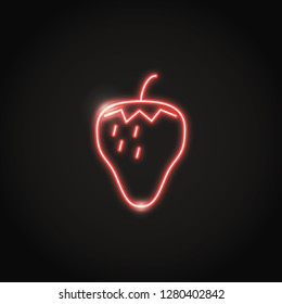 Glowing strawberry neon icon in line style