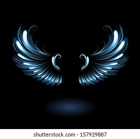 Glowing, stylized angel wings on black background.