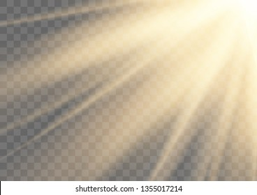 Glowing sun rays sparkling light isolated on transparent vector background.