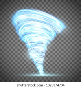Glowing tornado with lightning. Rotating twister. Isolated on a transparent background. Stock vector illustration.