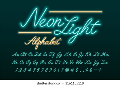Glowing turquoise and blue neon light alphabet