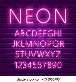 Glowing ultra violet neon character font. UV luminous light effect high detailed alphabet for advertising. Retro 80s techno acid style. Vector illustration