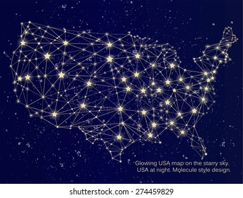 Glowing USA map on the starry sky. USA at night. Molecule style design.