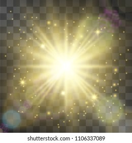 Glowing vector golden light effect, star with galactic dust, sun flares and nebula warm halo. Sheeny design details on transparent background. Decorative flamboyant element.