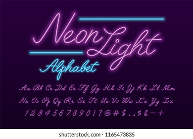 Glowing violet and blue neon light alphabet