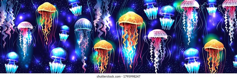 Glowing vivid transparent underwater jellyfishes horizontal banner