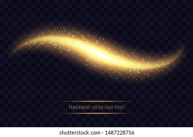 Glowing wave with sparkles, gold light effect isolated on transparent background. Shining magic scattered stardust. Abstract vector illustration.