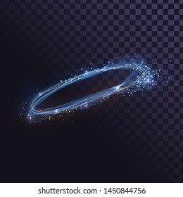 Glowing wavy ring of fire, shiny spin effect with sparks
